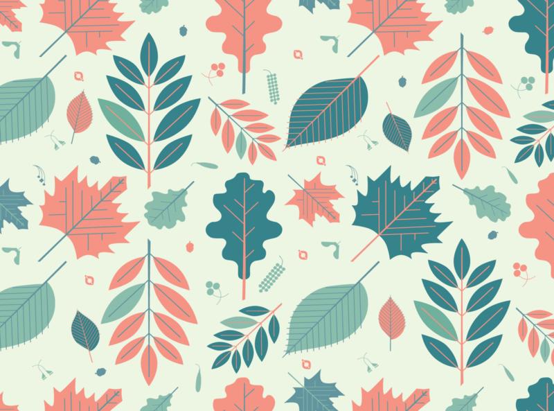 Leaf Pattern oak maple leaf decorative ornament vector fall pattern seamless twig leaves foliage herb plant nature leaf