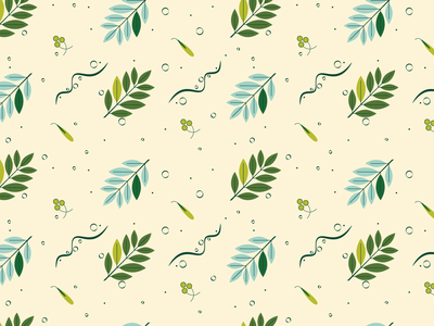 Twig Pattern bubbles cyan foliage herb ecology green plant leaf ornament decorative nature seamless pattern leaves twigs twig