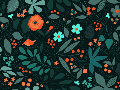 Flower Pattern. Dark version garden forest botany decorative plant nature branches twig seamless ornament berries bloom blossom floral flowers leaves leaf poppy pattern flower