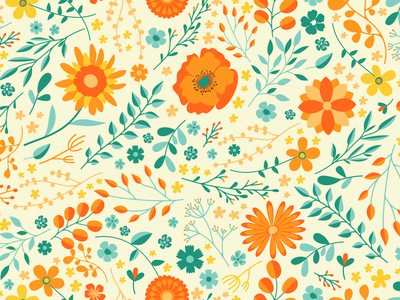 Summer Flower Pattern decoration seamless petals flowers warm nature leaf leaves sunflower sun twig twigs branches blossom poppy pattern flower pattern floral flower summer
