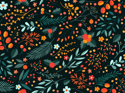 Winter Floral Pattern gooseberry berries forest nature illustration warm leaves flowers branches blossom twigs pattern floral pattern floral winter