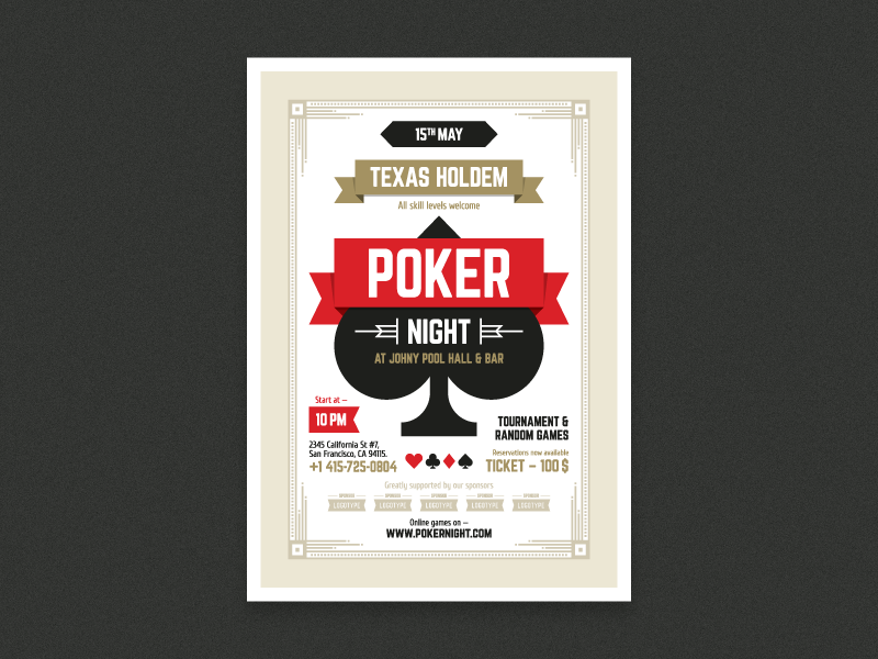 Poker night poster by EverydayTemplate - Dribbble