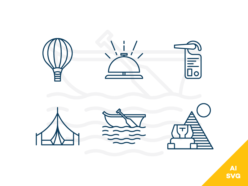 Travel and Hotels Freebie Vector Icons boat baloon tent label line outline icons vector freebie free hotels travel
