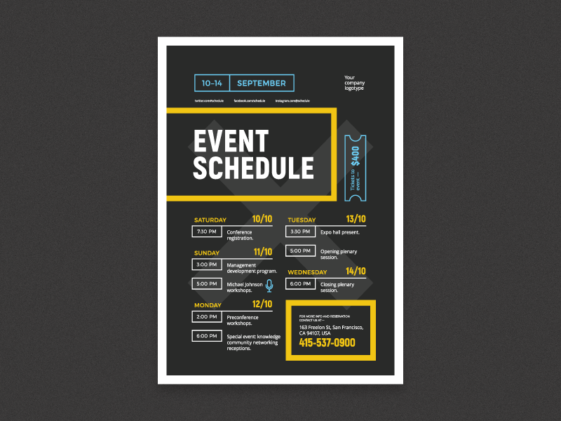 event schedule poster by everydaytemplate dribbble. Black Bedroom Furniture Sets. Home Design Ideas