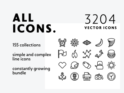 Allicons — 3204 Line Icons collection bundle mixed outline line vector icons complex simple allicons