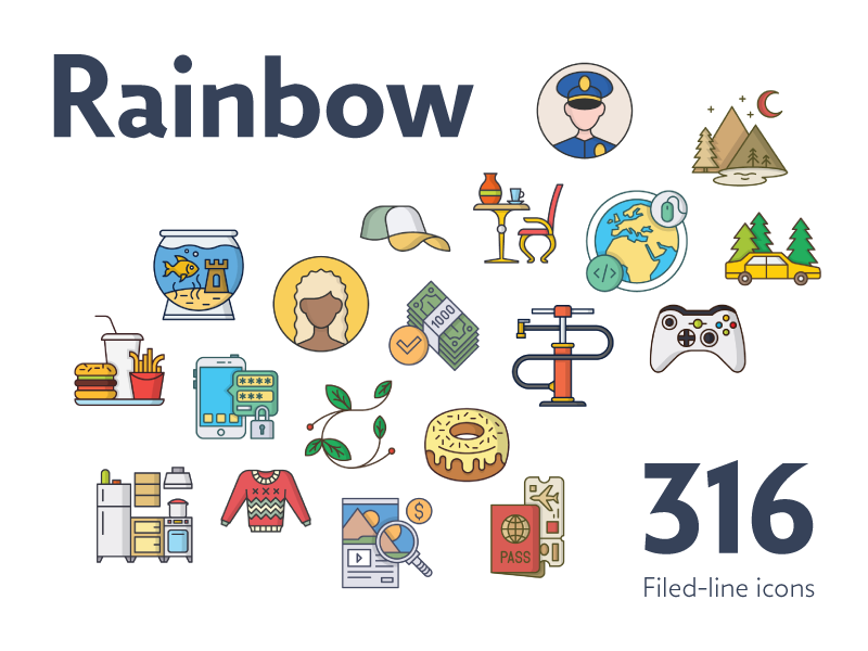 Rainbow bundle preview  dribbble  800x600px