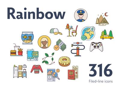 Rainbow — 316 Filled-Line Icons Bundle