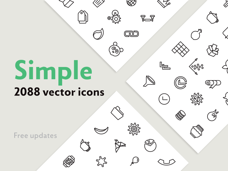 Simple — 2088 Line Icons Bundle by EverydayTemplate on Dribbble