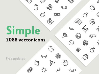 Simple — 2088 Line Icons Bundle