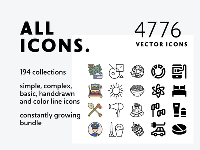 Allicons — 4776 Line Icons + FREEBIE solid basic color line complex handdrawn bundle icons vector mixed allicons