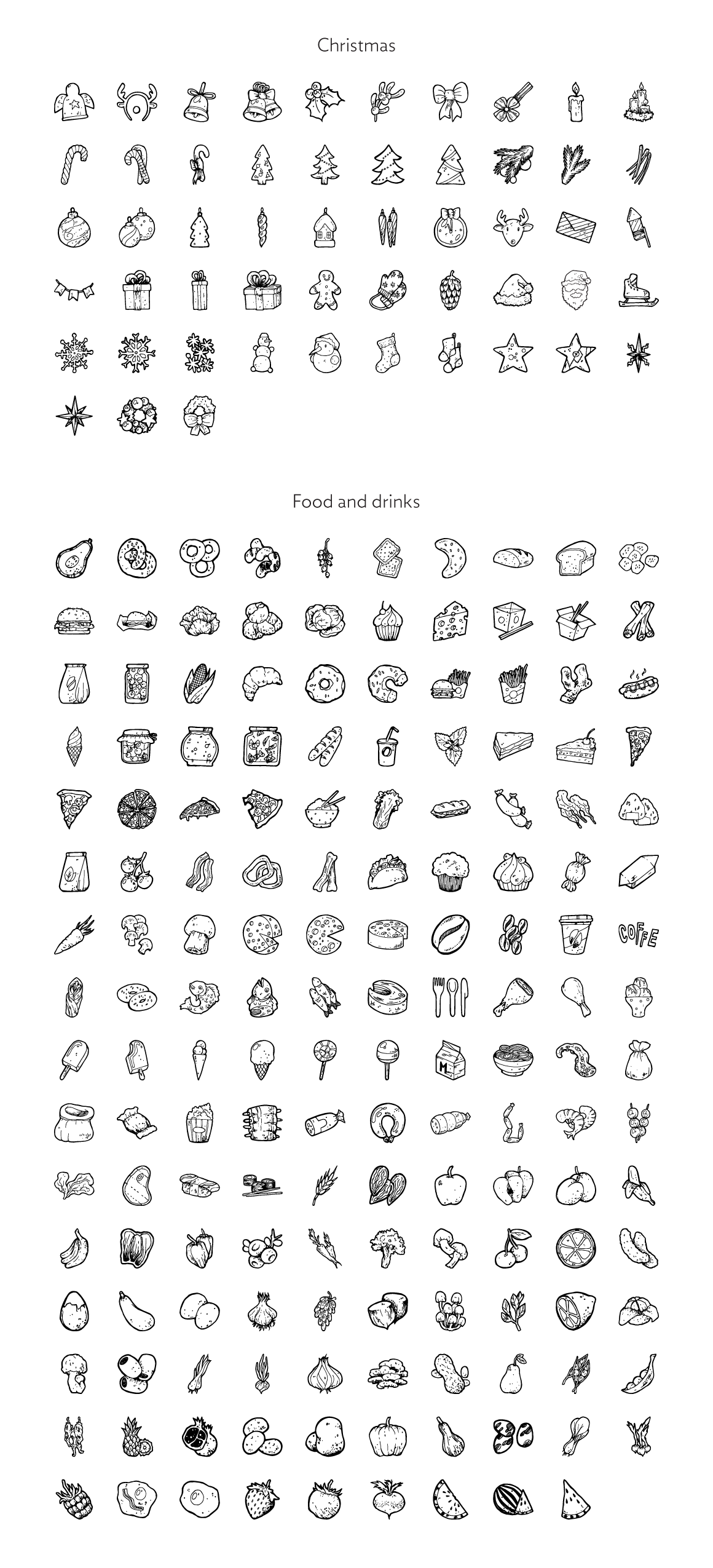 Handdrawn icons preview  cm  1160x2550px