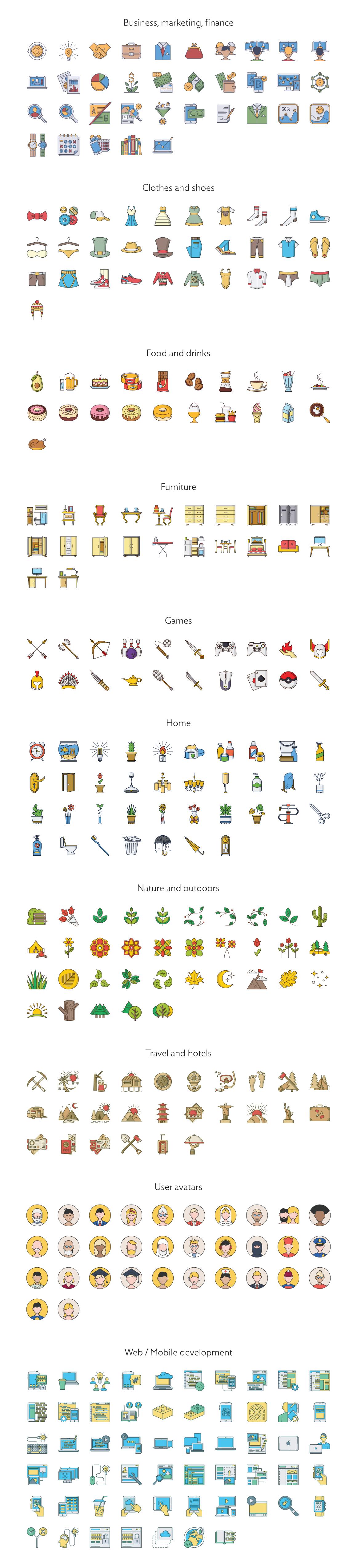 Complex color bundle icons preview  cm  1160x5100px