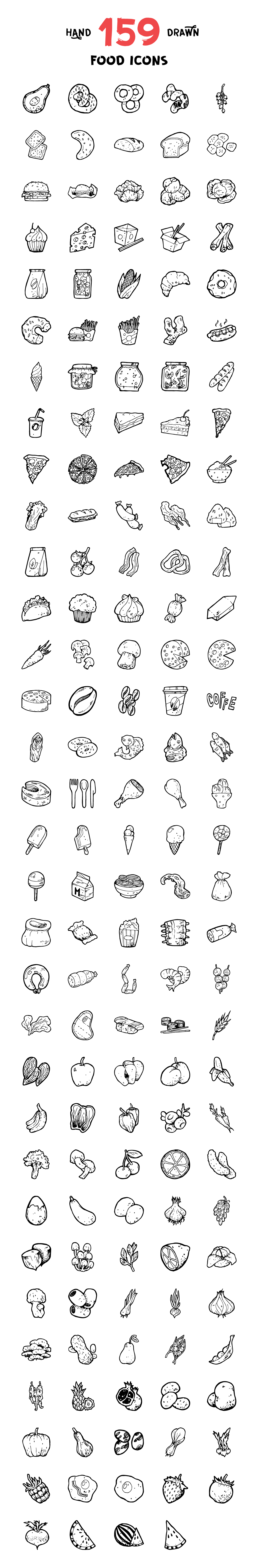 Handdrawn food icons preview cm 1160x7050px