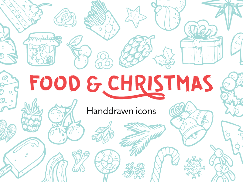 Handdrawn food   christmas icons preview dribbble 800x600px