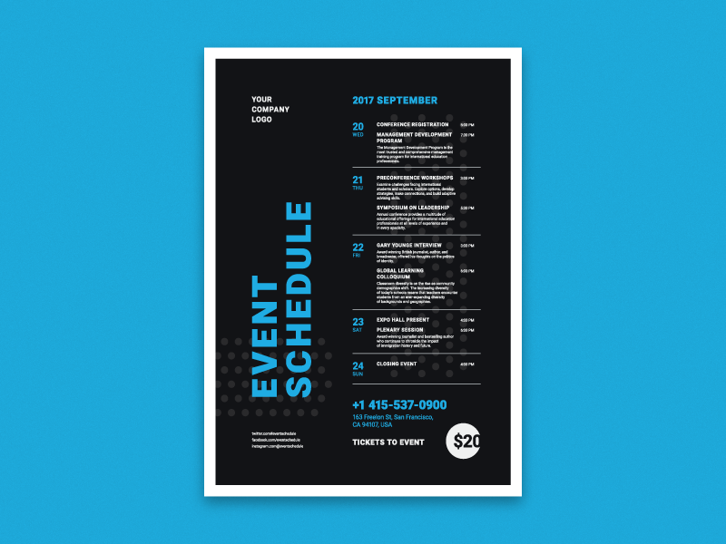 schedule event poster vol 3 by everydaytemplate dribbble