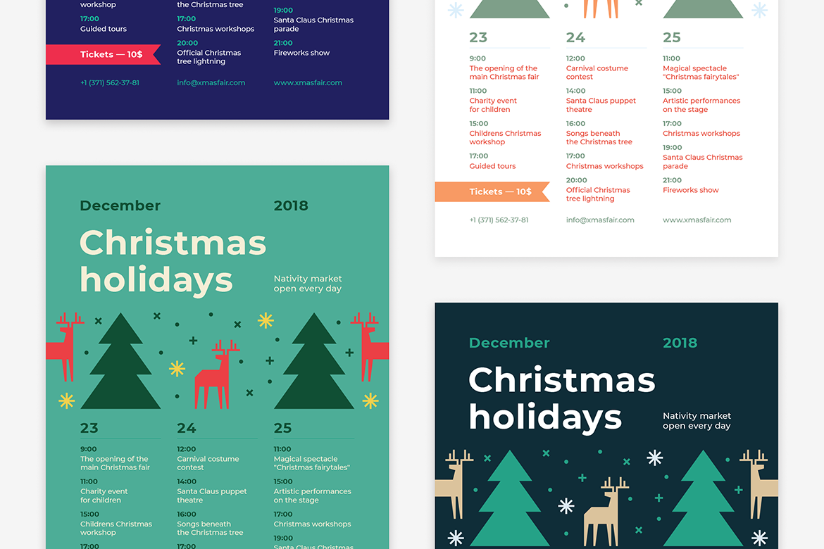 Christmas holidays poster preview  ee  1170x780px 03