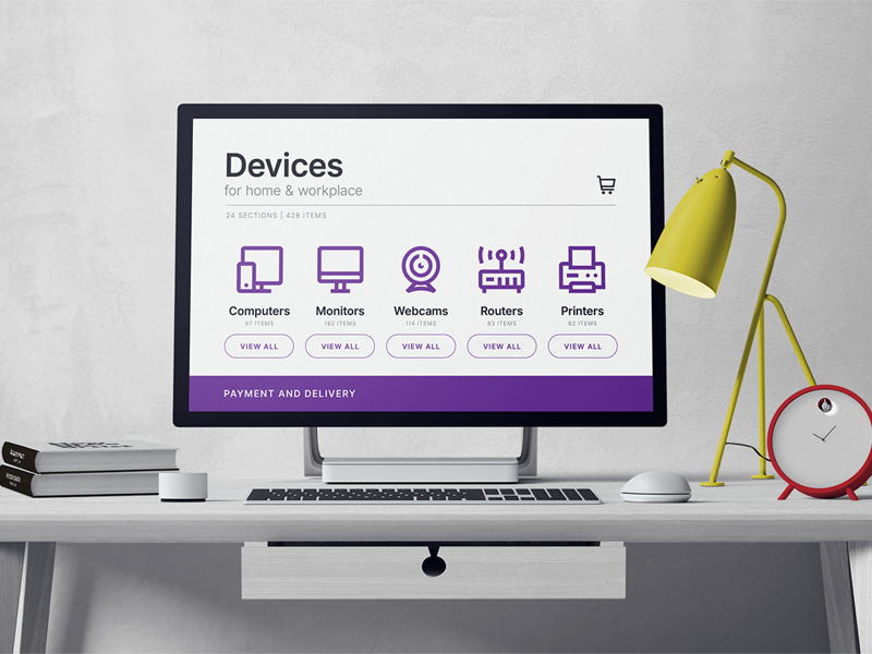 Icons set devices   workplace preview  dribbble  800x600px