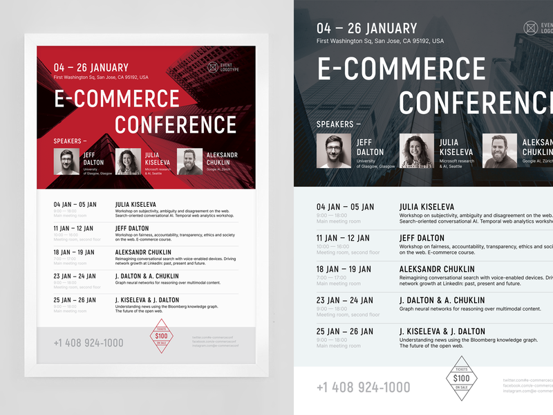 E-commerce Schedule Poster Template time date vector conference speakers performance calendar table event flyer poster schedule ecommerce