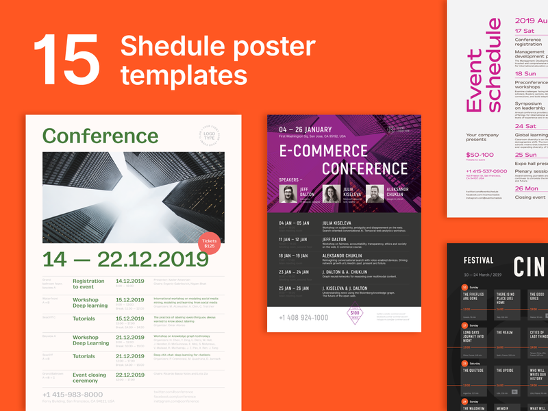 Schedule Posters Bundle vector timeline time date calendar event table templates flyer poster schedule