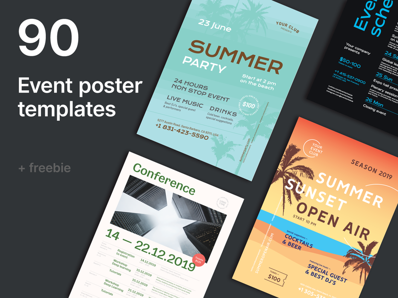 Event Poster Bundle + Freebie summer conference promotion invitation freebie event poster flyer event flyer template schedule poster event
