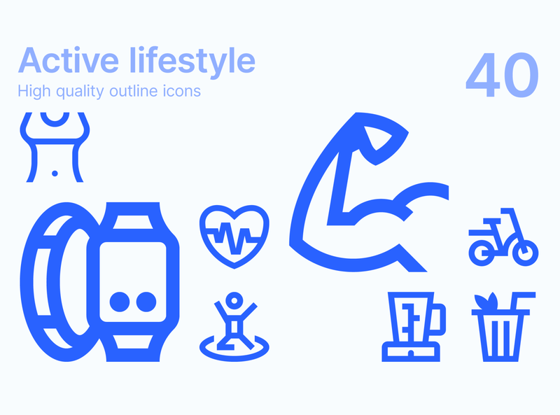 Active lifestyle icons tools equipment body devices healthy nutrition health active lifestyle fitness sport