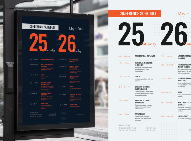 Conference Schedule Poster Template conference timeline weekends day schedule promo flyer invitation event template poster vector