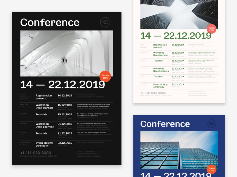 Conference Schedule Poster template promo invitation event date table list calendar vector flyer poster schedule conference