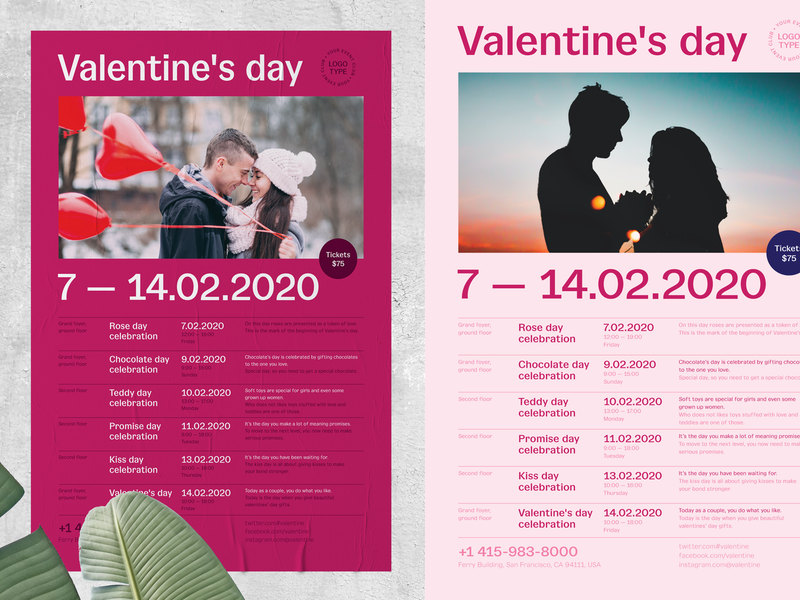 Valentine's day Poster Template couple heart love party event invitation poster template schedule valentinesday valentine day valentines