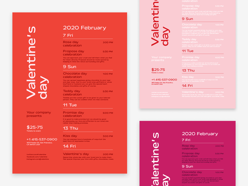 Valentine's Day Poster Template performances program invitation poster event schedule party heart love valentines day valentine day valentine
