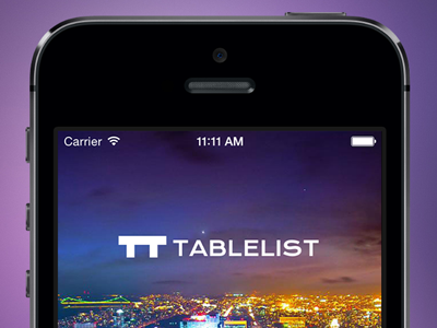 Tablelist Welcome Screen