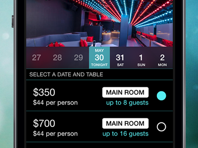 Pick Your Table tables list selector date picker carousel