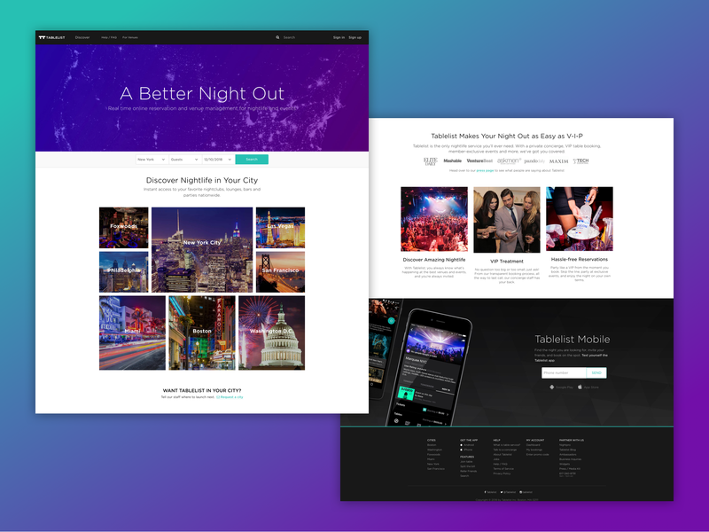 Tablelist marketing site web clubs bottle service bar alcohol nightlife nightclub marketing tablelist