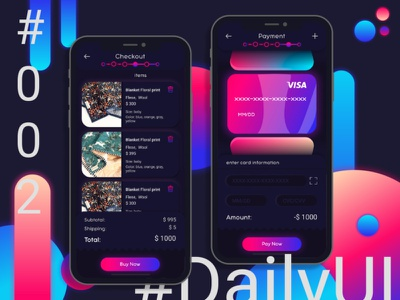 002 DailyUI. Credit card checkout checkout design app challenge neon clean app ux vector typography ui-inspiration ui inspiration credit card checkout credit card design dailyui 002