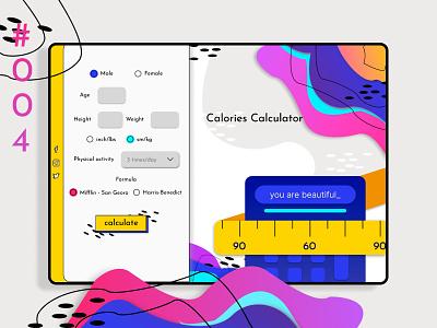 Calorie calculator - DailyUI calorie calculator concept modern blue colorful ux  ui uxdesign branding challenge app vector illustration ui-inspiration ui design 004 dailyui
