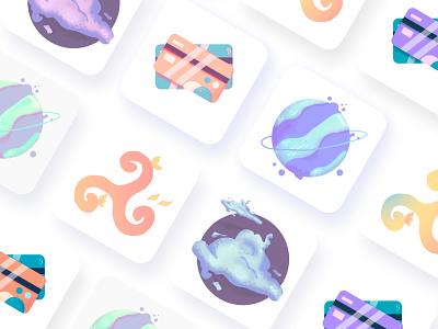 App icons. DailyUI 005 violet pink blue pastel raster icons icon set illustration art 005 vector typography challenge app inspiration illustration ui ui-inspiration design dailyui