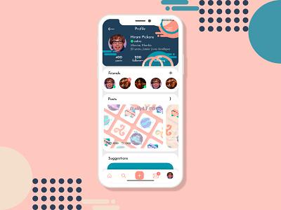 User profile - DailyUI 006 post message clean 006 vector mobile ui mobile app trendy uiux ux friends user page userinterface user colorful colors ui design dailyui