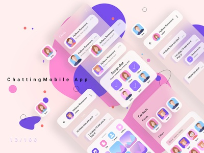 Messaging App Design vector ux ui design ui typography trends socialmedia pink mobile minimal messaging illustration avatar icon gradient design blur app 013 dailyui