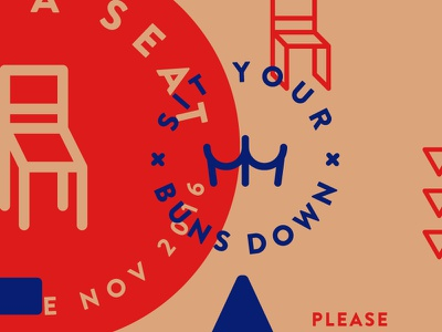 Sit Your Buns Down butts chairs typography iconography illustration