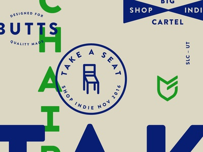 Take a Seat butts indie chair illustration typography