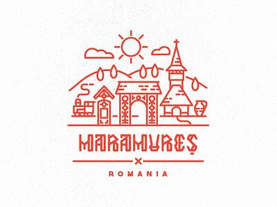 Maramures Illustration illustration romania maramures rural church steam train archaic type gate cemetery pottery hills