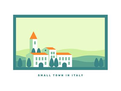 Italy illustration church tuscany town buildings city italy