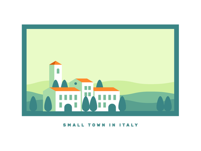 Italy Updated illustration church tuscany town buildings city italy