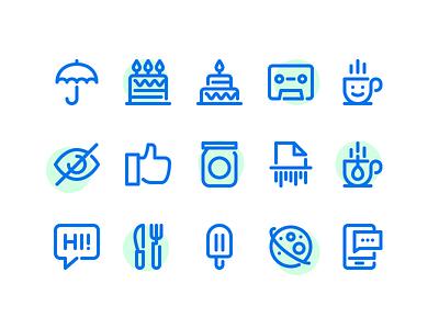 Minimal Icons #3 icons minimal simple cake umbrella coffee like cup smartphone