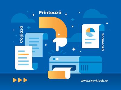 Kiosk services hand printer copy scan illustration print