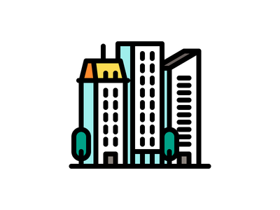 Buildings City view line illustration icon vector city tower buildings