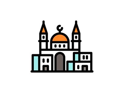 Buildings Orient line illustration house church arab orient city vector buildings