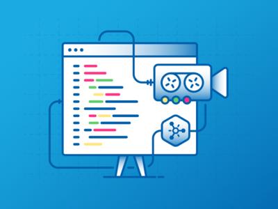 Learning camera window coding vector illustration developer video learning