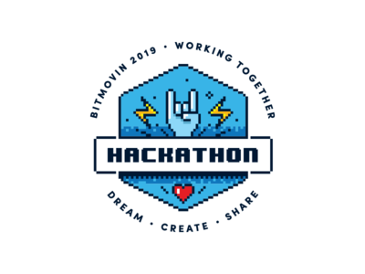 Hackathon retro vector bitmovin hackathon sticker badge logo