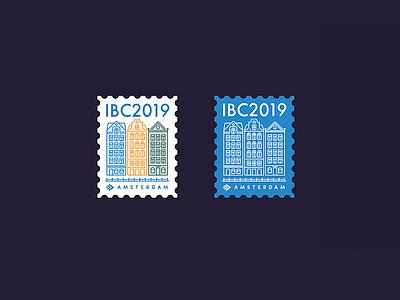 IBC 2019 Goodies amsterdam totebag pin sticker city brand vector illustration logo