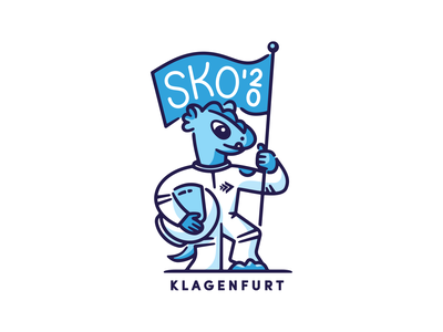 SKO'20 Mascot future mascot badge mark design spaceman flag vector klagenfurt illustration character sko lindwurm bitmovin